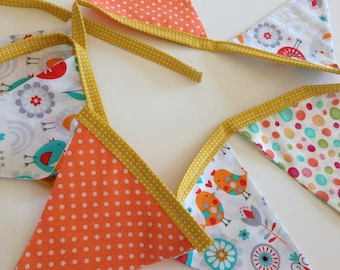 SPRING BIRDS FLOWERS Banner Garland Flags--Spring Bunting--Folkart Birds Flowers--Turquoise Grey Red Orange--Polka Dots--Spring Banner--Love
