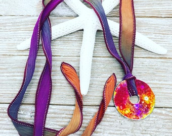 Alcohol ink dyed washer on hand painted silk ribbon necklace. One of a kind!