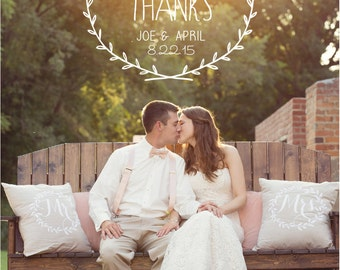 Rustic Wreath Wedding Thank You Cards PRINTED WITH ENVELOPES, Vintage Wedding Thank you Cards, Wedding Photo Thank You Cards, Flat 5x7 Cards