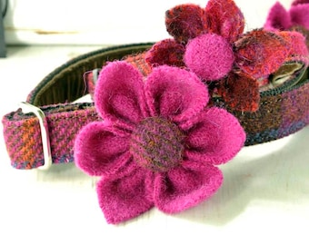 Cerise Harris Tweed Flower corsage for dog collar, Dog wedding flower, Dog flower corsage