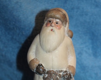 Vintage Clay Santa in White Suit with Sparkles