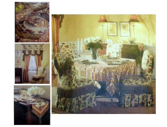 WAVERLY Chair Cover, Drapes, Valance, Tablecloth, Table Runner, Placemat,  Napkin Sewing Pattern Home Decor Uncut Butterick B4760 From  PurplePlaidPenguin On ...