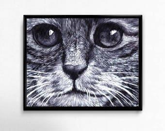 Cat Art Print, Cat Lover Gift, Printable Wall Art, Cat Print, Black and White Wall Decor, Cat Lover Gift, 8x10 Printable Art