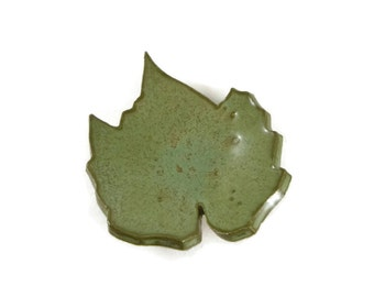 Grape Leaf - pottery - Textured iron green - ring dish - spoon rest