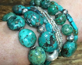 Stackable Turquoise Bracelets | Handmade Turquoise, Silver Jewelry | Stackable Beaded Charm Bracelet