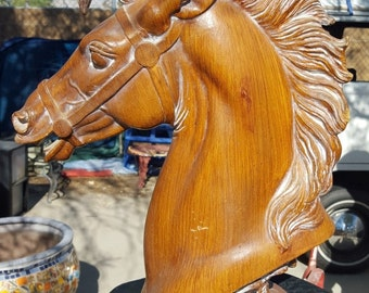 Brown Horse Head sculpture with wood like finish, cast resin