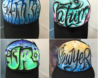 Airbrush Trucker Hats Personalized (Variety Colors, Graffiti Art)
