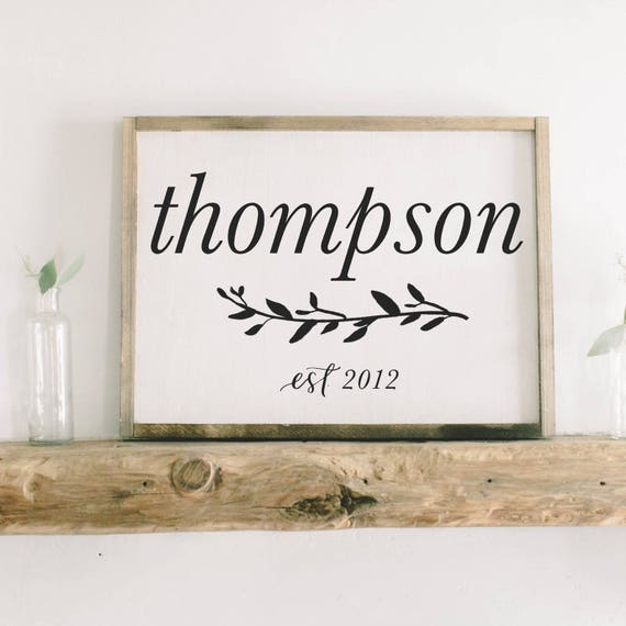 Framed Wood Sign Personalized Last Name and Est. Date rustic