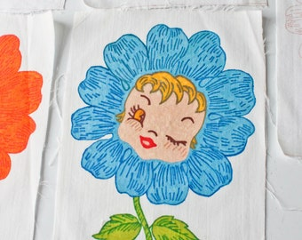 Vintage Hand Painted-Unpainted Quilt Square Block-Anthropomorphic Girl Flower-You Choose-Flower Block-100% Cotton-Winking-Flower with Face