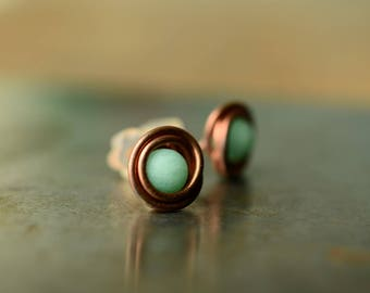 mint earrings, jade stud earrings, bridal shower gift, copper wire earrings, mint green bohemian jewelry, gift for mom, wirewrapped jewelry