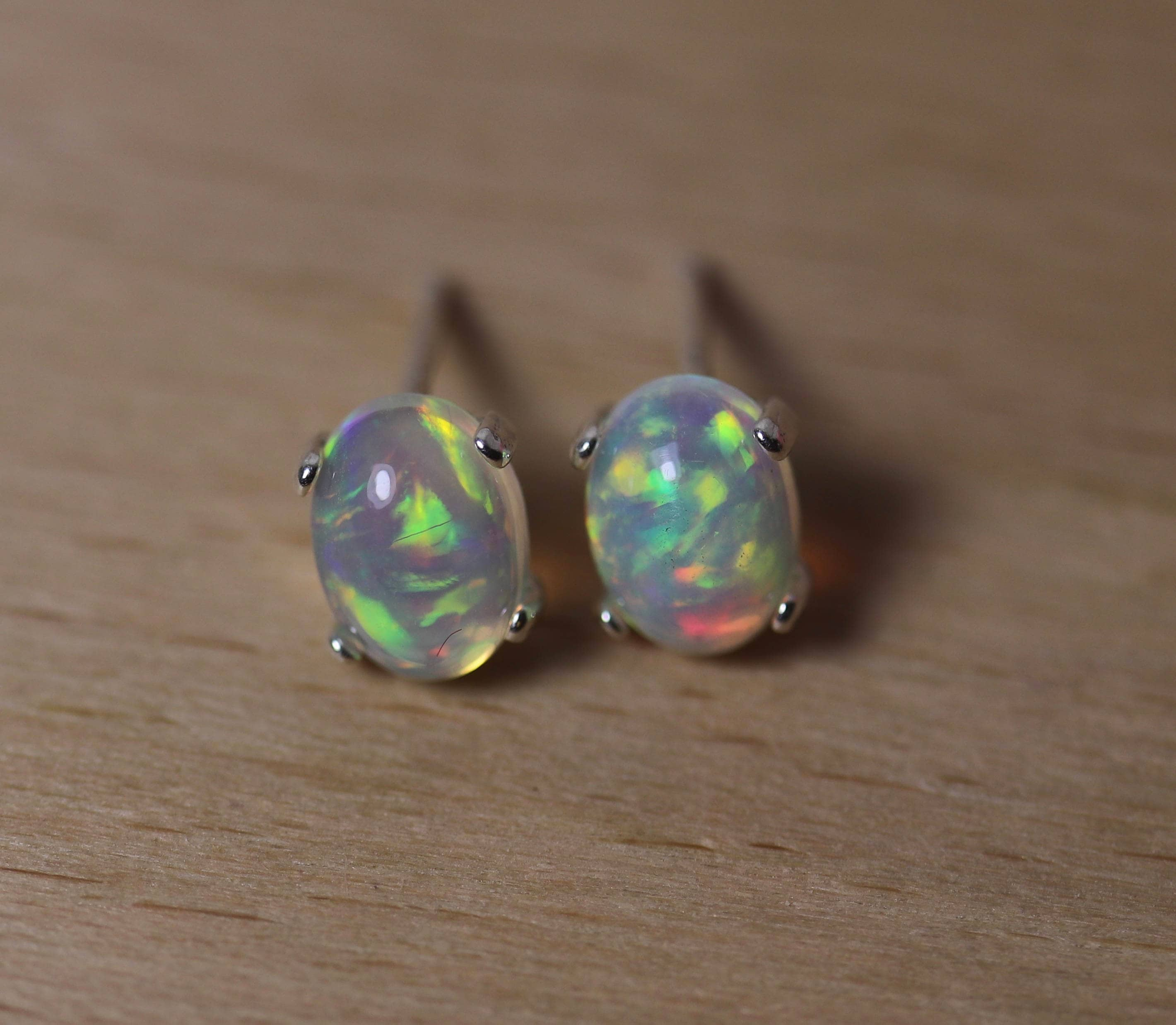 with gold earrings genuine bufferflies yellow opal oval stud product