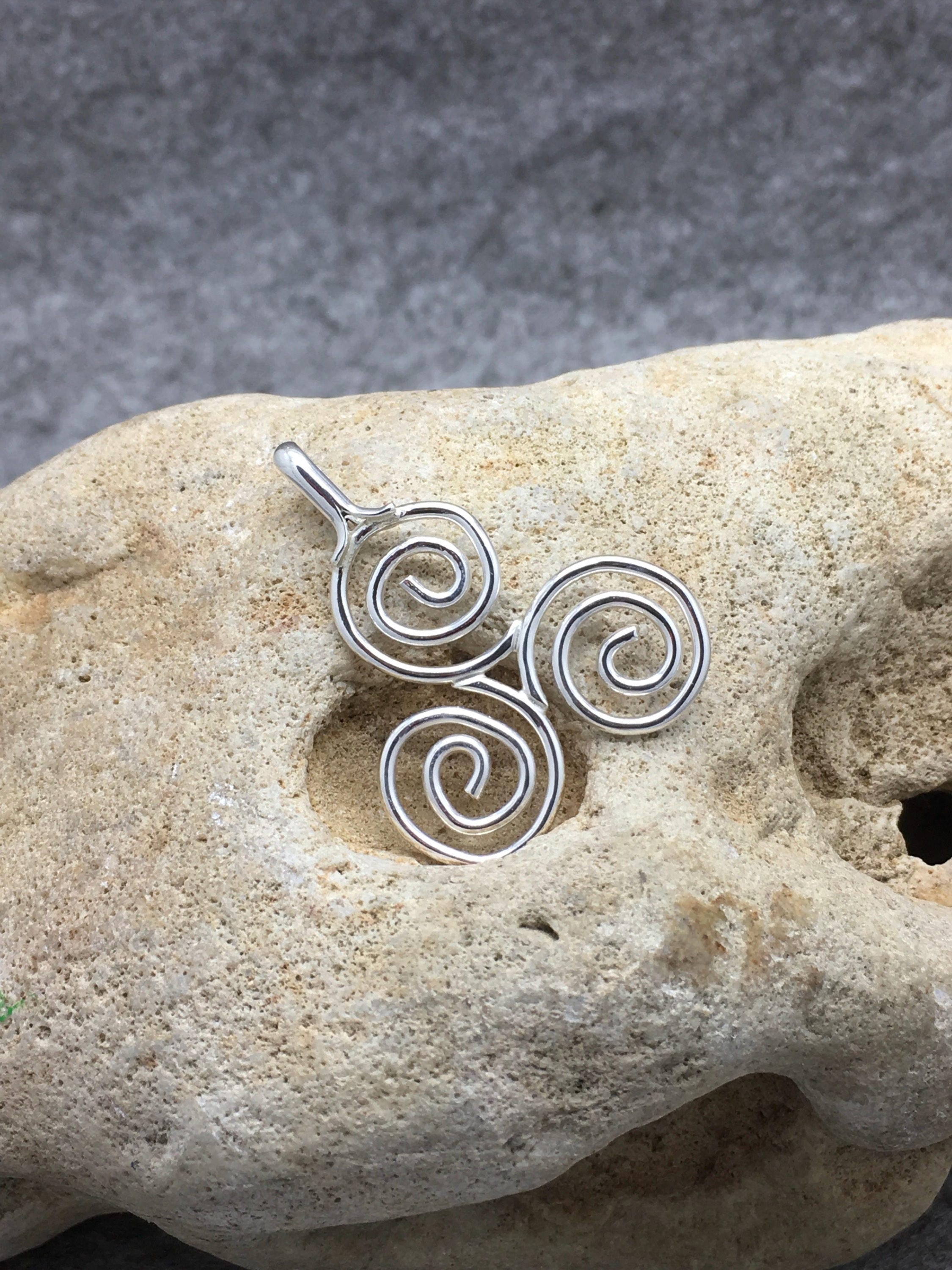 spiral connemara marble pagan celtic triskelion pendant pin triple jewelry triskele irish
