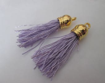 2 PomPoms 45 mm, tassel fringe in purple silk