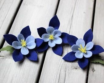 Striking BLUE COLUMBINE Wool blend felt flower