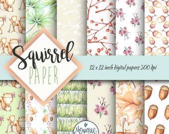 Woodland Digital Papers, woodland animal paper, watercolor designer clip art, planner, fabric, stickers, backdrop, invitations, nursery art