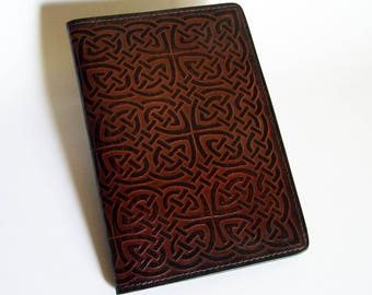 "Brown Leather Journal Cover - Moleskine Notebook Cover Fits 5"" x 8.25"" Cahiers - Celtic Rope/Knot Pattern"