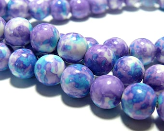 Beads for jewelry: 10 beads 6mm blue purple tinted stones