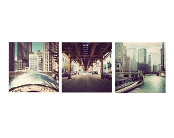 Chicago print set, set of 3, photographs, Chicago pictures, square photos, wall art, Chicago decor, Illinois artwork, discounted set