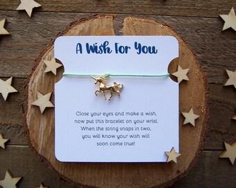 Unicorn Wish Bracelet, Gold Wish Bracelet, Friendship Bracelet, Unicorn Jewelry, Unicorn Charm Bracelet, Cord Bracelet, Unicorn Gift