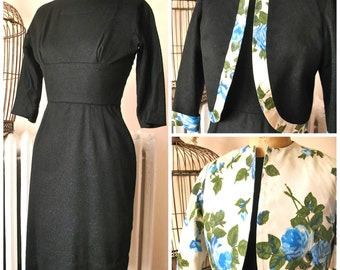 Blue Floral Bombshell | Vintage 1950's Black Wool Wiggle Dress Suit with Reversible Floral Jacket