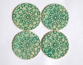 round tile coasters ceramic coaster green glaze housewarming gift set of two, 2 pc, green round coasters, home decor, coasters with pattern