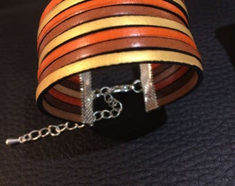 """""""Now"""" orange leather Cuff Bracelet, gold and Brown"""