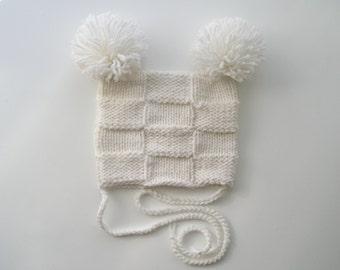 Knitted Baby Pom Pom Hat/Hand knit double pom pom hat/newborn hat/Knit Baby Hat/Photo Prop Hat/girl baby hat/Baby pom pom hat/baby gifts