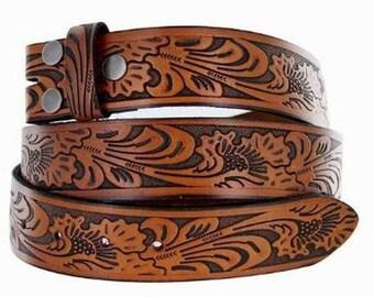Flora Embossed Leather Snap On Belt, Belt Strap, Snap Leather Belt