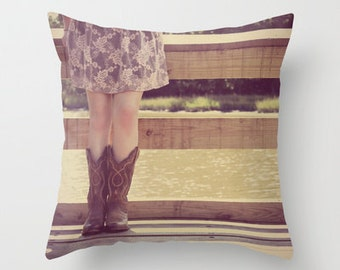 Home Decor, Decorative, Throw Pillow Case Cover, Cowgirl, Cowboy Boots, lake, river,  RDelean Photography