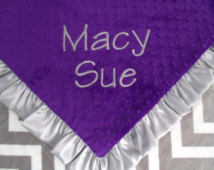 Grey Chevron and Purple Minky Dot Baby Blanket - Ruffled