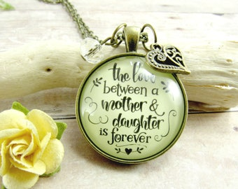 Mom Daughter Necklace The Love Between a Mother Daughter is Forever Pendant Gift for Mom Birthday Wedding Mum Mother of Bride