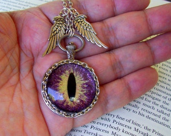 Dragon Eye Pendant (N627) Necklace, Hand Painted Purple Sparkle and Gold Streaks Glass Eye, Silver Wings, Silver Chain with Clasp