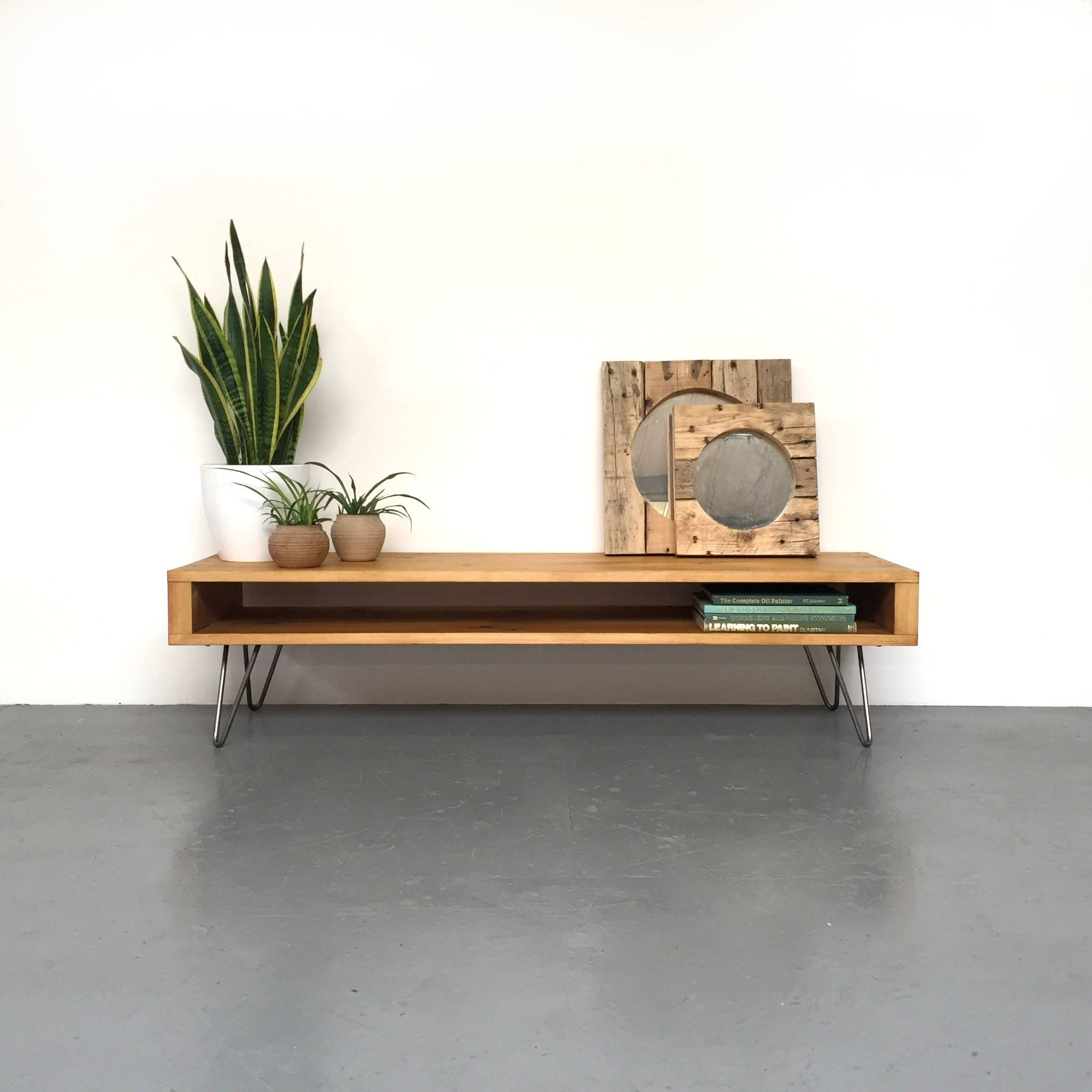 Low Large Coffee Table Wide TV Stand Side Table Solid Wood