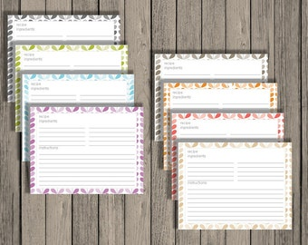 Editable recipe cards, meal planning, recipes, editable printables, recipe card printables, 4 per page, instant download, leaves design.