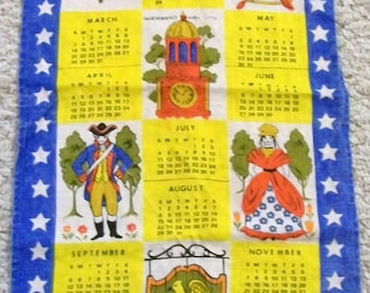 Calendar Towel,1976, Bicentennial, Vintage Tea Towel, Calendar Tea Towel, Vintage Kitchen