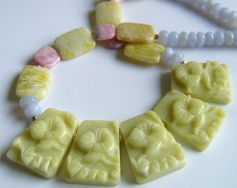 necklace, Chain Chalcedony (Nature), Jade, Rhodochrosite