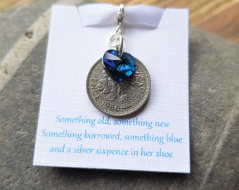 Brides Gift Lucky Sixpence Swarovski Bermuda Blue Heart Charm Something Blue Silver Sixpence Bouquet Charm Something Old Brides Gift