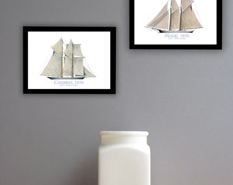 Americas Cup Yachts 1870 (prints unframed)