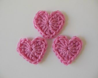 Pink Crocheted Hearts - Pink Acrylic Hearts - Crocheted Heart Embellishments - Crocheted Heart Appliques - Set of 3