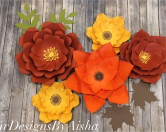 Fall theme flower set 5 pcs with leaves