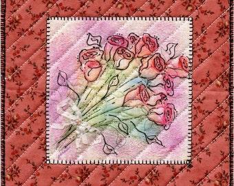 """A Dozen Roses, Mug Rug/Quilt, 5.75"""" x 5.75"""""""