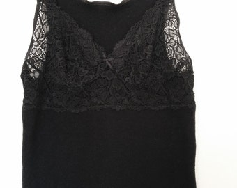 Vintage black wool mix lace lingerie tank top. Size small or medium