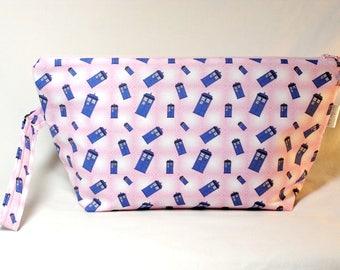 Tardis in Pink Bloom Beckett Bag - Premium Fabric