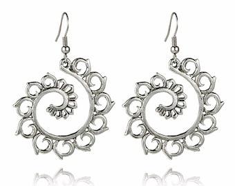ETHNIC dangle LOTUS earrings in silver