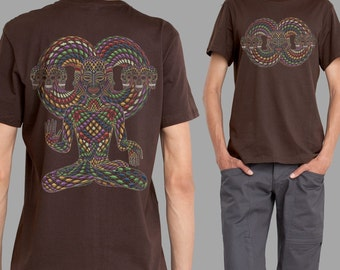 Psychedelic trippy  t-shirt for men in brown - TRINFINITY - sacred geometry visionary art shirt. gift for him.