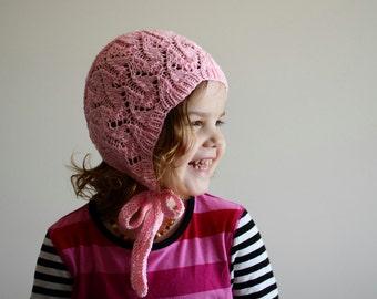 2-4 year size, ready to ship, rts, toddler hat, knit cotton bonnet, toddler bonnet, pink bonnet, spring bonnet, autumn bonnet, lace bonnet