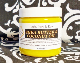 8oz size 100% Pure Raw Shea Butter & Organic Virgin Coconut Oil. Natural Unscented or choose an Essential Oil.