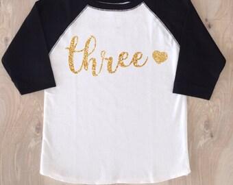 Three Birthday Girl Shirt/Girl Birthday Shirt/Third Birthday/Three Birthday/Third Birthday Shirt/3rd Birthday T-shirt