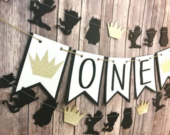 Where the Wild Things Are inspired One Banner, Highchair Banner, First Birthday, One Banner, Photo Prop