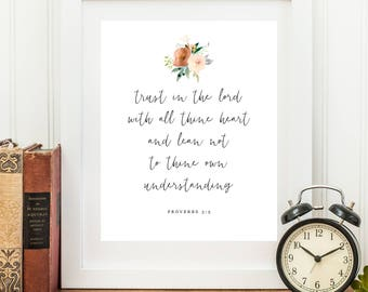 Bible verse printable, Trust in the Lord, instant download, Christian Wall art, Proverbs 3:5, bible verse printable art